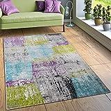 Paco Home Designer Teppich Wohnzimmer Ausgefallene Farbkombination Karo Mehrfarbig, Grösse:120x170 cm