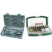 Mannesmann 130-tlg. Steckschlüssel- und Bitsatz, M29166 & Bosch 32tlg. Schrauberbit-Set mit Farbcodierung