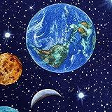 Planet Earth Designer Vorhang Polster Baumwolle Stoff Material–140cm 140cm (Meterware)