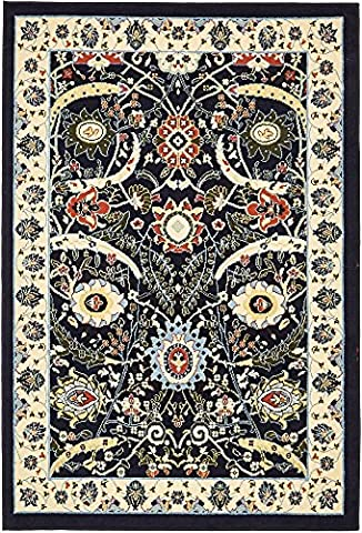 Country Traditional 4-Feet by 6-Feet (4' x 6') Isfahan Navy Blue Area Rug