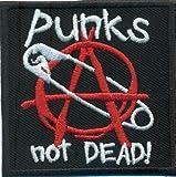 """Toppa di sicurezza con stemma anarchia con spilla e scritta """"Punks not dead"""" [lingua inglese] stile motociclista Rockabilly"""