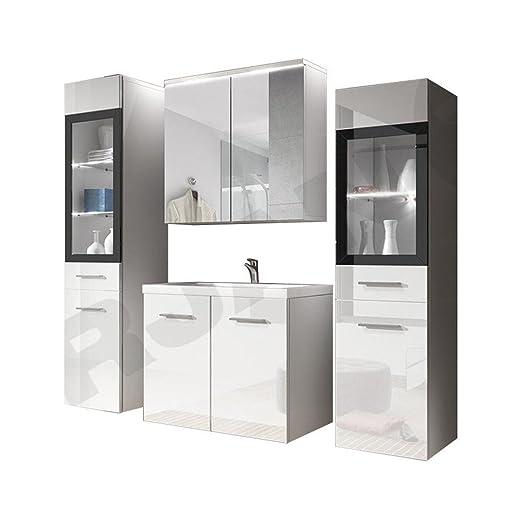 Badmöbel Set Udine II Mit Waschbecken Und Siphon, Modernes Badezimmer,  Komplett, Spiegelschrank, Waschtisch, Hochschrank, Möbel (mit Weißer LED  Beleuchtung, ...