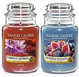 Yankee Candle, set di 2barattoli con candele aromatizzate originali, grandi, con etichetta classica, fragranza di mora e fico e zafferano vivace