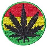 Rasta Cannabis-Blatt Aufnäher Aufbügler Patch Legalisierung Hanf Reggae Hippie Party Festival (Klein )