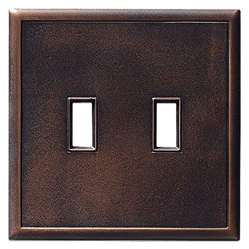 Metall-Kipplichtschalterplatten und Wandplattenabdeckungen, magnetisch, keine sichtbaren Schrauben Double Toggle Light Switch Cover Oil Rubbed Bronze (Light Switch Wall Plate)