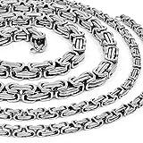 RUGGED STEEL Herren Königskette Edelstahl Halskette 55cm 5mm Karabinerverschluss Farbe Silber hochglanzpoliert