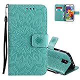 Aeeque Wallet Case for Samsung Galaxy S5/S5 Neo i9600 5.1 inch, Luxury Sunflowers Pattern Bookstyle Flip Stand Function Magnetic Clasp witn Card Slots PU Leather Holster Protection - Green