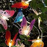12 GLASFASER SCHMETTERLING LEUCHTE; SOLAR LICHTERKETTE, GARDEN PARTY LICHTERKETTE