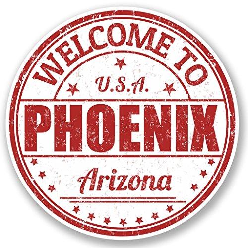 Preisvergleich Produktbild 2 x 10cm / 100mm Phoenix Arizona USA Vinyl SELBSTKLEBENDE STICKER Aufkleber Laptop reisen Gepäckwagen iPad Zeichen Spaß 5213
