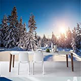 Wapel Benutzerdefinierte Fototapete Aufkleber Nordic Winter Verschneite Wald Tiger Hintergrund Wand Dekorative Malerei 150Cmx105 Cm