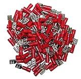 AERZETIX: Juego de 100 hembra aisló terminales cable eléctrico 4.75 mm Color: Rojo