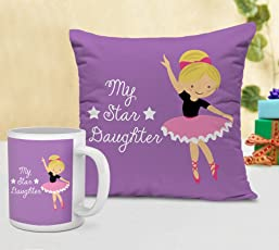 Tied Ribbons Gift for Girl Cushion (12 inch X 12 inch) with Coffee Mug (300ml,Ceramic)