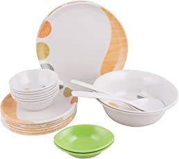Golden Fish Unbreakable Plastic & Microwave Safe Dinner Set (24 Pcs.) (GF-16-Multi)