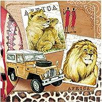 20tovaglioli 33x 33cm Africa Massai romanticismo Safari Leone Tiger Jeep