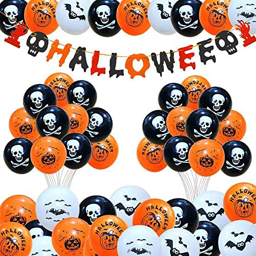 Caiery 50 pcs Halloween Dekoration Ballons Luftballons & 1pcs Halloween Girlande/Halloween Deko Set für geeignet-Grusel-Horror-Party-Deko