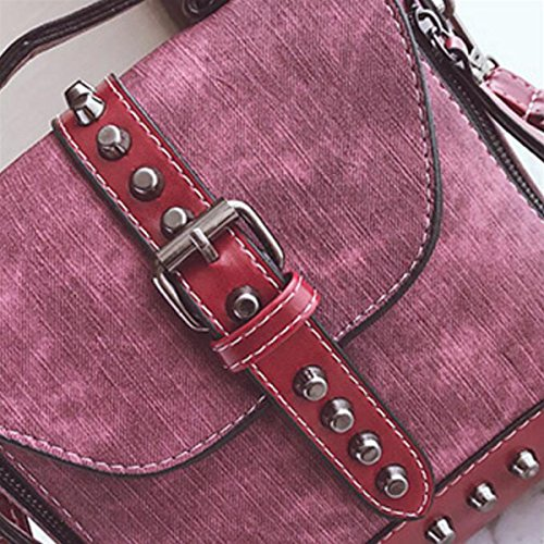 Mode Nieten Rucksack Neue Multifunktions-Tasche Weiblichen Casual Schultertasche Messenger Bag Rucksack,Brown WineRed