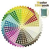 AIEX 19mm 3360 Adesivo a Punti Etichette Rotonde 16 Colori Assortiti Per Etichette Circolari Con Codice Colore Con Un Sacchetto Di File Con Cerniera