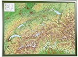 Schweiz 1:500.000 mit Rahmen: Reliefkarte Schweiz mit grünfarbenen Holzrahmen
