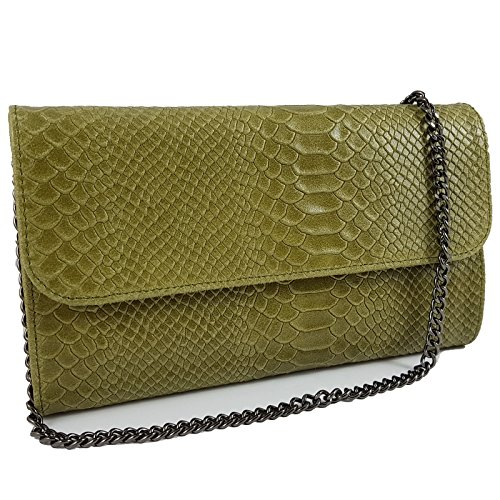 Echtleder Damen Clutch Tasche Abendtasche Muster Metallic 25x15cm (Oliv Snake) (Snake-clutch-handtasche)