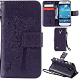 Ooboom® Samsung Galaxy S4 Mini Case Cat Tree Pattern PU Leather Flip Cover Wallet Stand with Card/Cash Slots Packet Wrist Strap Magnetic Clasp for Samsung Galaxy S4 Mini - Purple