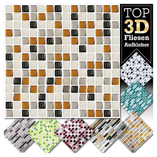 Grandora 2 Stück 25,3 x 25,3 cm Kupfer dunkelgrau Silber Fliesenaufkleber Design 7 I 3D Mosaik Fliesenfolie Küche Bad Wandaufkleber Fliesensticker Fliesendekor W5423 - Kupfer-mosaik-glas