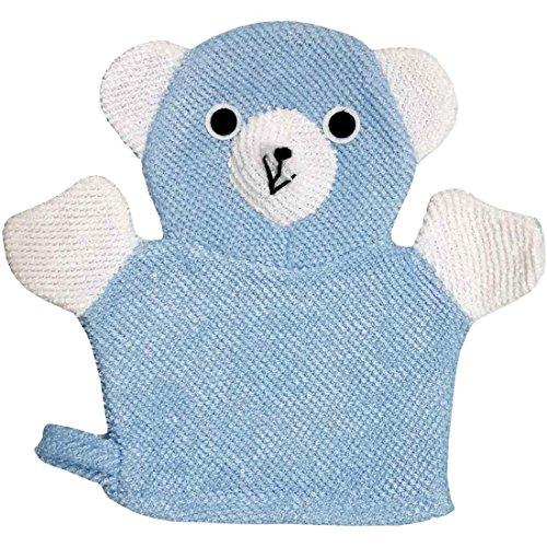 Rachna's Baby Loofah Bear Hand Mitten Bath Sponge Rubbing Towel Wash Glove - Blue