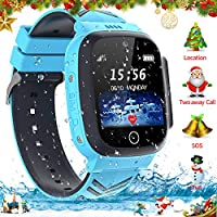 Jaybest Kids Waterproof Smartwatch Phone, LBS Tracker Screen-touch Smartwatch SIM Card with Camera SOS Call Voice Chat Two-way Calling for kids Boys Girls Birthday Gifts(Light-blue)