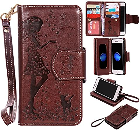iphone 7/ iphone 8 Case Leather [Cash and 9 Card Slots], Cozy Hut Elegant Woman and Cat Patterned Embossing PU Leather Stand Function Protective Cases Covers with Card Slot Holder Wallet Book Design Fordable Strap Case for Apple iphone 7/ iphone 8 4,7 Inch -