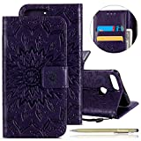 Herbests Hülle Huawei P Smart Handyhülle Lederhülle Leder Flip Case Handy Schutzhülle Ledertasche Blumen Muster Klapphülle Wallet Cover Handytasche Kartenfach und Ständer,lila