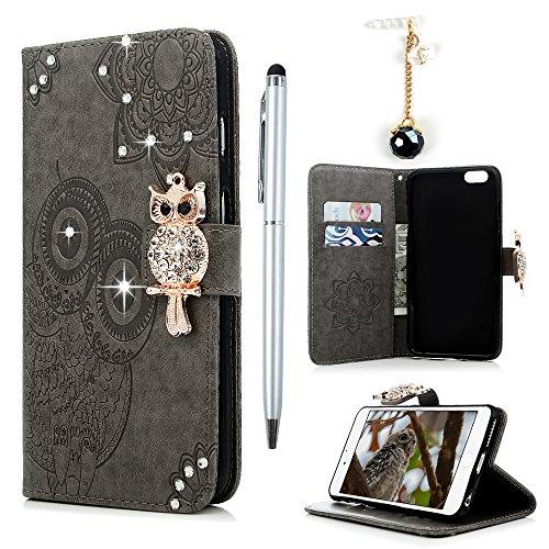 Badalink Hülle für iPhone 6 Plus / iPhone 6s Plus Gold Eule Diamant Handyhülle Leder PU Case Cover Magnet Flip Case Schutzhülle Kartensteckplätzen und Ständer Handytasche mit Eingabestifte und Staubsc Grau
