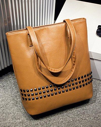 Donna Shopper Borse A Mano Tote Borsa a Spalla Rivetto Handbag Borsa A Tracolla Marrone