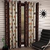 Inira Trendz Patta Modern Eyelet Door 4x7 ft Curtains (Brown) -2 Pieces