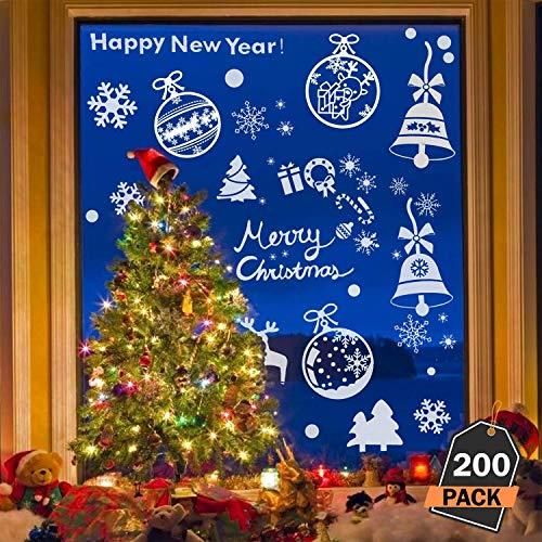 Kompanion 200 Stück sortierte Weihnachtsfenster-Abziehbilder Set, Winter Wunderland/Weißes Weihnachten Dekoration - für eine Festliche und magische Feier, 30cm x 43cm