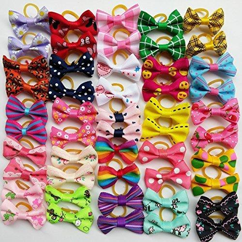 Paquete de 50 lazos Chenkou de pelo para perros, incluyen banda de goma, diferentes tamaños y colores