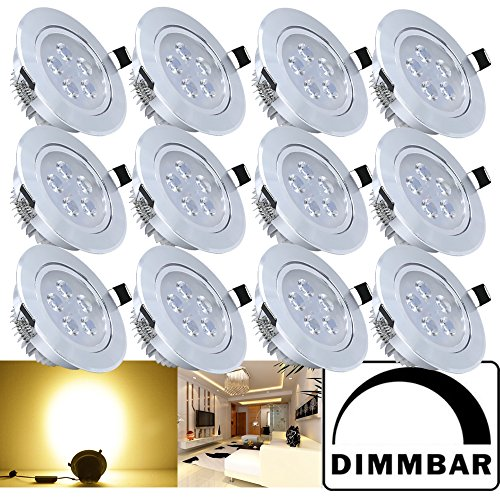 Hengda® 12X 5W LED Einbauleuchte Dimmbar Warmweiß Aluminium für den Wohnbereich Beleuchtung mit Schwenkbar | Einbaulampen | Einbau Strahler |