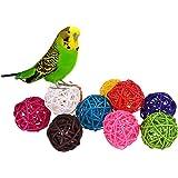 Lot de 10Boules en Rotin Accessoires Jouets pour Oiseaux, Perroquets, Perruches, Perruches Calopsittes, Inséparables, Fringi