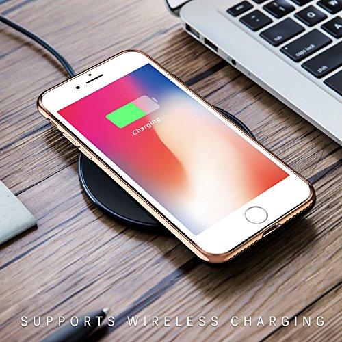 Coque iPhone 8 Plus, Coque iPhone 7 Plus, TORRAS Transparent Ultra fine Silicone Housse Étui de Protection en Doux TPU Bumper Cadre Brillant Plaqué et Clair back Case pour iPhone 8 Plus/7 Plus - Noir Doré