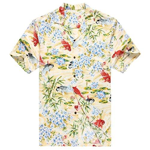 Hecho-en-Hawaii-Camisa-hawaiana-de-los-hombres-Camisa-hawaiana-XL-Rojo-negro-pescado-koi-floral-amarillo