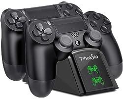 Tihokile Caricatore Joystick PS4, Caricatore Controller PS4 con Display LED, Base Ricarica Joystick PS4 Compatibile con Plays