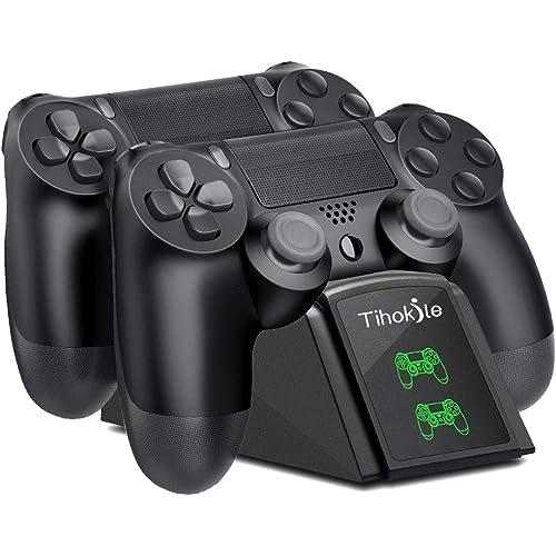 Tihokile Ricarica Controller PS4, Base di Ricarica Wireless con Doppio Joystick per PS4 con Indicatore LED, per Playstation4 / PS4Pro / PS4 Slim Controller(Nero)
