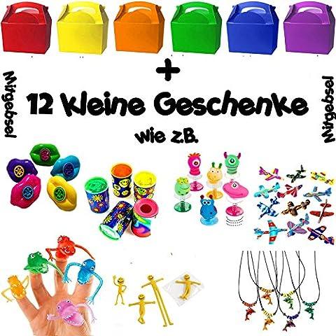 German Trendseller® - 6 x boîtes á cadeaux avec poignée┃ compris 12 petits cadeaux ┃pour remplir┃ pochette surprise┃l'anniversaire