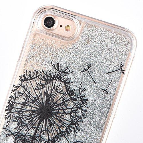 Voguecase Pour Apple iPhone 7 4,7, Luxe Flowing Bling Glitter Sparkles Quicksand et les étoiles Hard Case étui Housse Etui(Ange noir-Pink) de Gratuit stylet l'écran aléatoire universelle Pissenlit-Argent