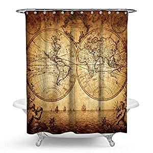 "kisy antiguo mapa del mundo impermeable cortina de ducha de baño retro brújula náutico histórico mapa baño cortina de ducha tamaño estándar 70""x 70,"" vintage"