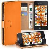 Pochette OneFlow pour iPhone 4 / 4S housse Cover avec fentes pour cartes | Flip Case étui housse téléphone portable à rabat | Pochette téléphone portable étui de protection accessoires téléphone portable protection bumper en CANYON-ORANGE