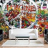 decomonkey | Fototapete Graffiti 350x256 cm XXL | Design Tapete | Fototapeten | Tapeten | Wandtapete | moderne Wanddeko | Wand Dekoration Schlafzimmer Wohnzimmer | Bunt Jugend Kinder Jugendliche Zimmer | FOB0010a73XL