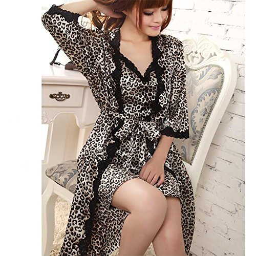 HXQ Damen Bademantel Seide V-Ausschnitt Pyjamas Schwarz Leopard Zweiteilige Spitze Ärmel , panthers panthers