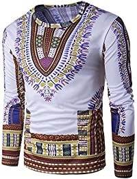 a974eb131b05b OverDose Hombres Tradicionales de Tailandia Estilo Africano de Manga Larga  Camiseta Blusa Tops
