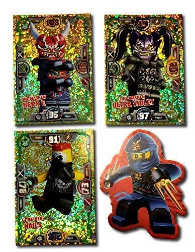 Serie 3 Ninjago Limitierte Gold Karten LE 19 LE 20 und LE 21 + Bonus Aufkleber - Gold Serie 20
