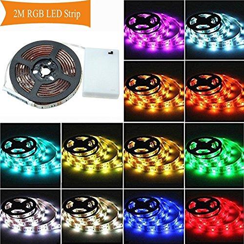 LED Strip,AUDEW LED Streifen Stripe Licht Batterie 2M 5050 RGB bunt Lichtleiste Band Beleuchtung Farbwechsel LED Lichtband dimmbar wasserdicht IP65 für Party Geburtstag Bar Küche