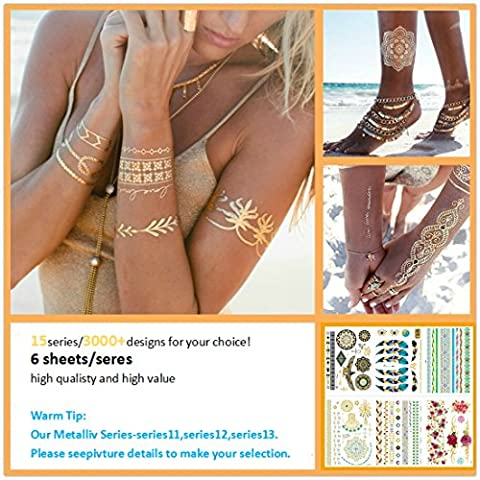 [New Arrival] Love Nest Flash Metallic Temporary Tattoos 6 sheets/ pack 180+ Designs Gold Silver Waterproof Temporary Tattoos for man, woman and kids
